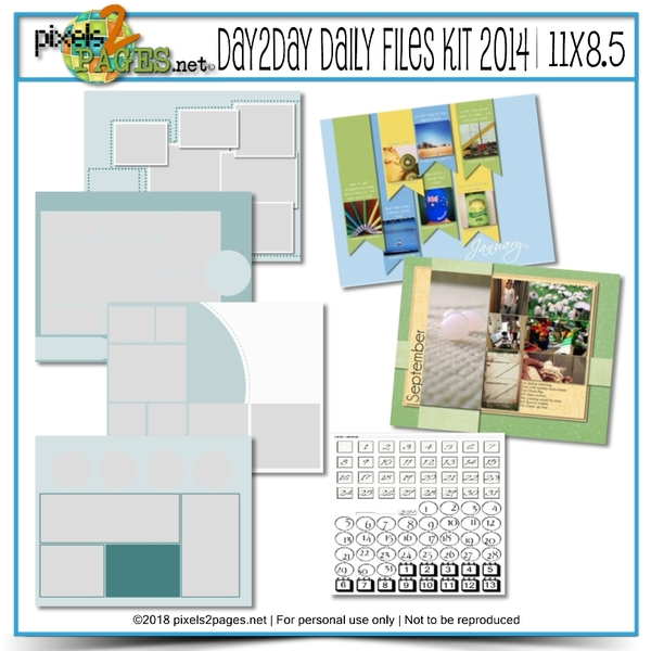 11x8.5 Daily Files Kit 2014 Digital Art - Digital Scrapbooking Kits