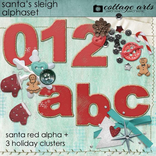 Santa's Sleigh Alphaset Cluster Pak