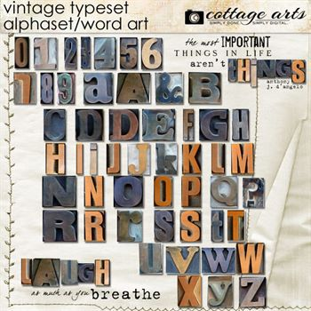 Vintage Typeset Alphaset & Word Art