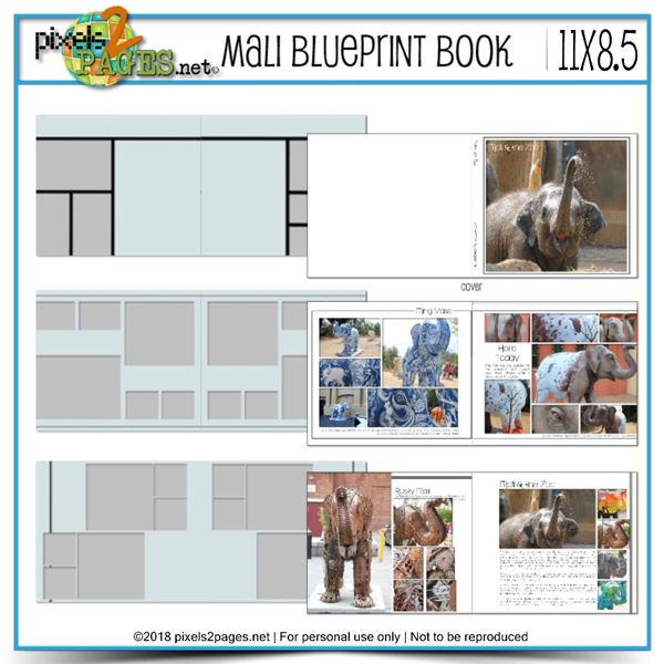 Mali Blueprint Book 11x8.5 Digital Art - Digital Scrapbooking Kits