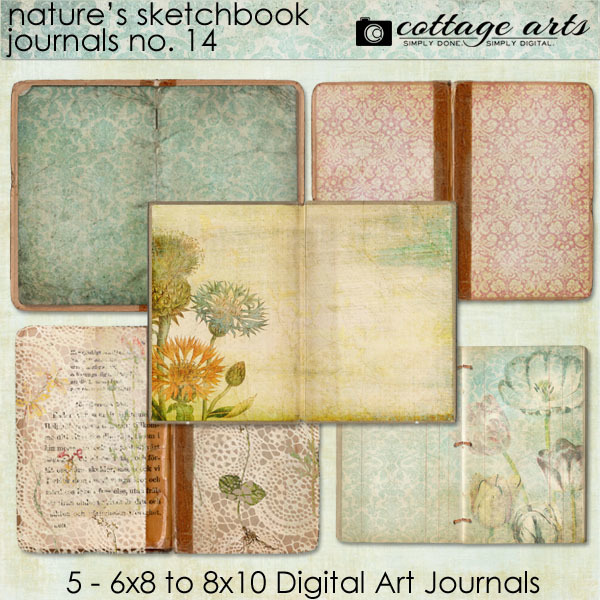 Nature's Sketchbook - Journals 14 Digital Art - Digital Scrapbooking Kits