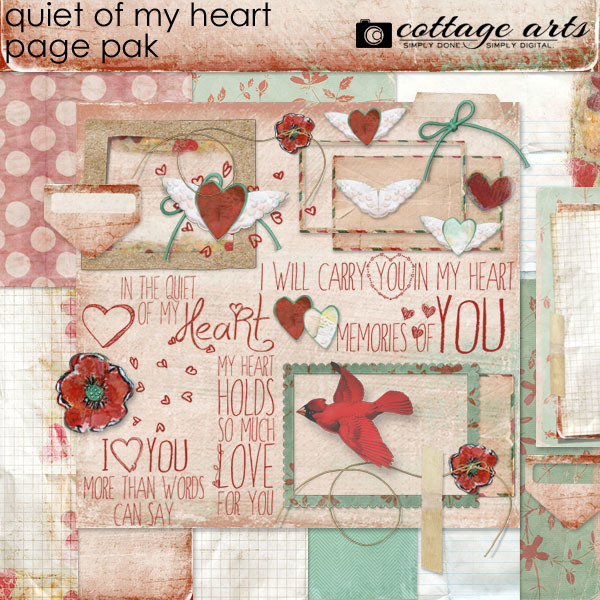 Quiet Of My Heart Page Pak Digital Art - Digital Scrapbooking Kits