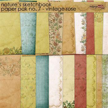 Nature's Sketchbook 7 Paper Pak - Vintage Rose