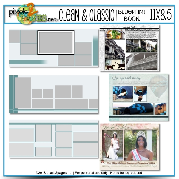 11x8.5 Clean & Classic Blueprint Book Digital Art - Digital Scrapbooking Kits