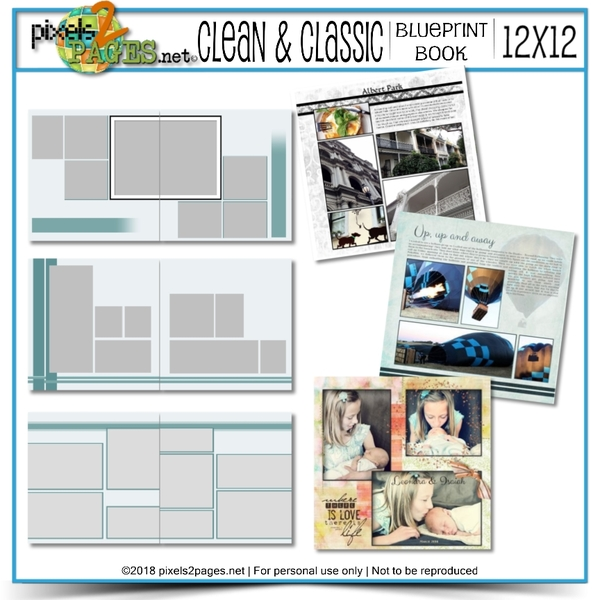 12x12 Clean & Classic Blueprint Book Digital Art - Digital Scrapbooking Kits