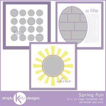 Spring Fun 12x12 Page Template Set