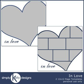 In Love 12x12 Page Template Set