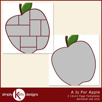 A Is For Apple 12x12 Page Template Set