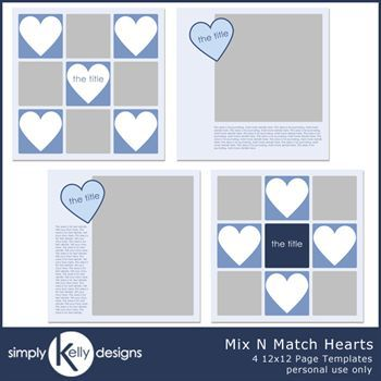 Mix N Match Hearts 12x12 Page Template Set