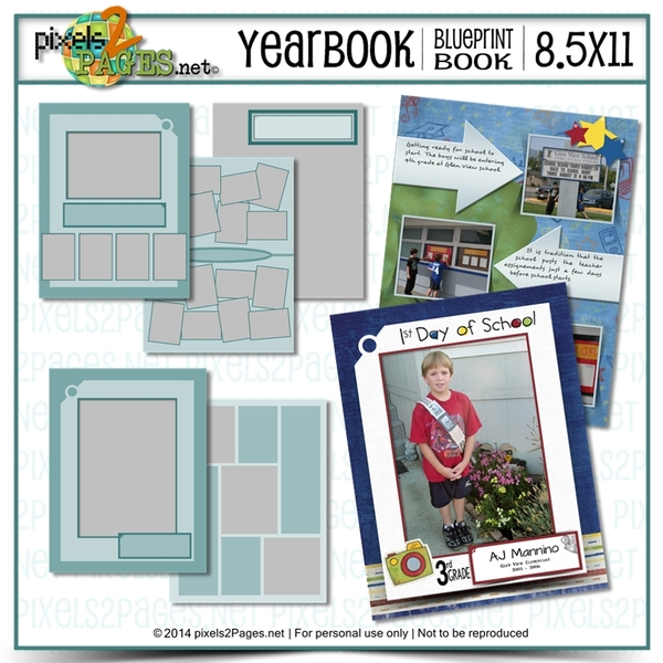 8.5x11 Yearbook Blueprint Book Digital Art - Digital Scrapbooking Kits