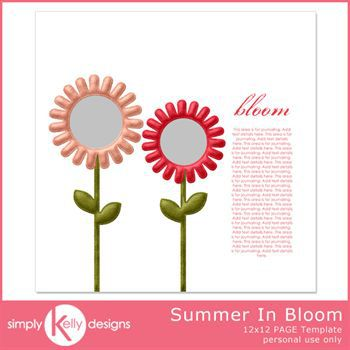 Summer In Bloom 12x12 Page Template