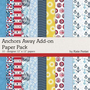 Anchors Away Add-on Paper Pack Digital Art - Digital Scrapbooking Kits