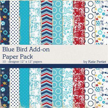 Blue Bird Add-on Paper Pack Digital Art - Digital Scrapbooking Kits