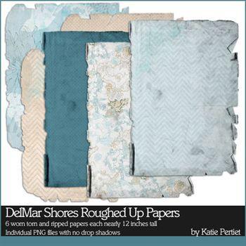 Delmar Shores Roughed Up Papers Digital Art - Digital Scrapbooking Kits
