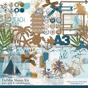 Delmar Shores Scrapbook Kit Digital Art - Digital Scrapbooking Kits