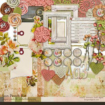 Sun Porch Kit Digital Art - Digital Scrapbooking Kits