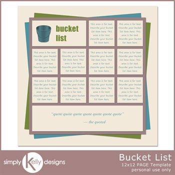 Bucket List 12x12 Page Template