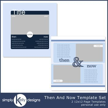 Then And Now 12x12 Page Template Set