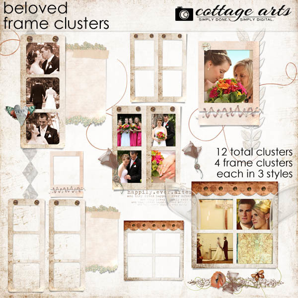 Beloved Frame Clusters Digital Art - Digital Scrapbooking Kits