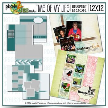 12x12 Time Of My Life Blueprint Book Digital Art - Digital Scrapbooking Kits