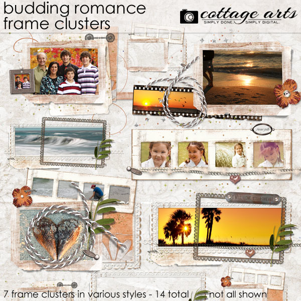Budding Romance Frame Clusters Digital Art - Digital Scrapbooking Kits