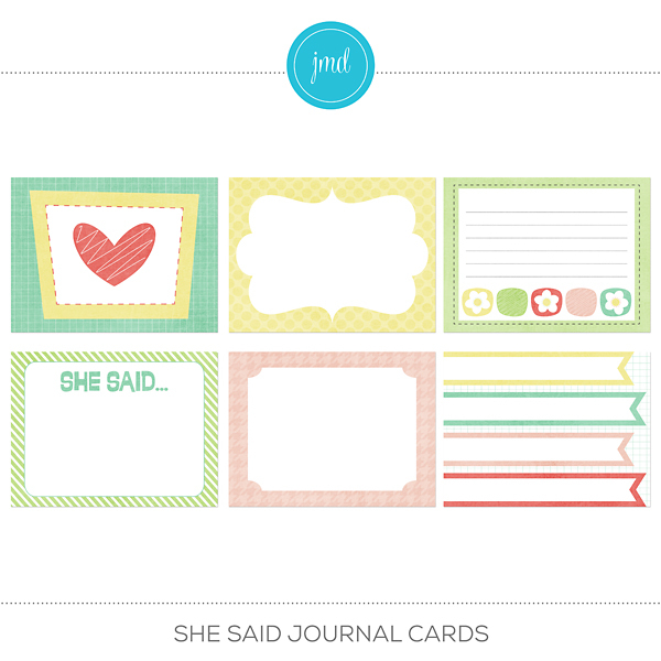 She Said Journal Cards Digital Art - Digital Scrapbooking Kits
