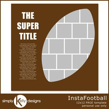 Instafootball 12x12 Page Template