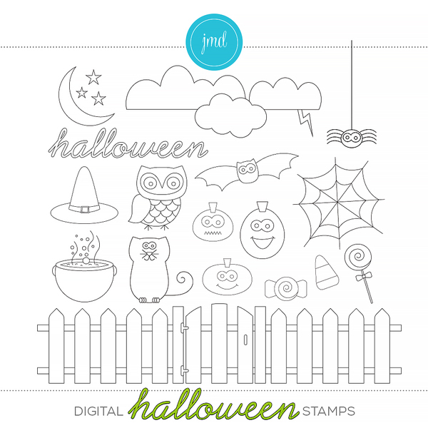 Halloween Stamps Digital Art - Digital Scrapbooking Kits
