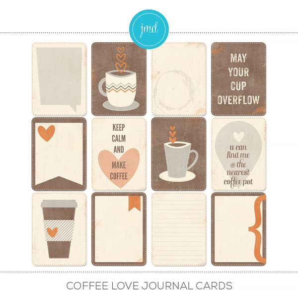 Coffee Love Journal Cards Digital Art - Digital Scrapbooking Kits