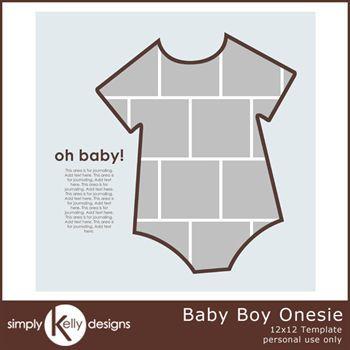 Baby Boy Onesie 12x12 Template