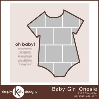 Baby Girl Onesie 12x12 Template