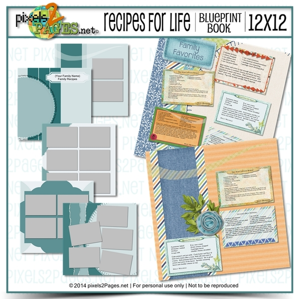 12x12 Recipes For Life Blueprint Book Digital Art - Digital Scrapbooking Kits