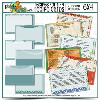6x4 Recipes For Life Blueprint Cards