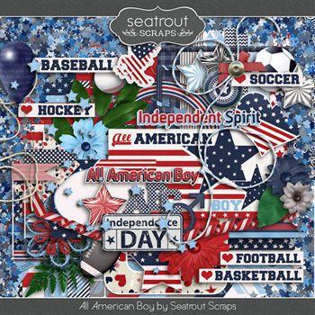 All American Boy Digital Art - Digital Scrapbooking Kits