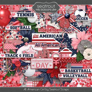 All American Girl Digital Art - Digital Scrapbooking Kits