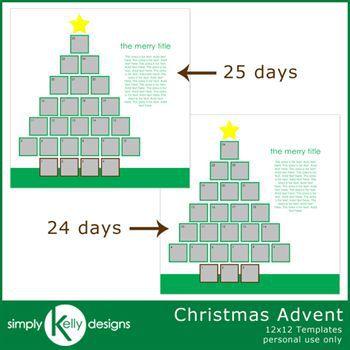 Christmas Advent 12x12 Template