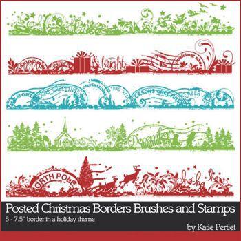 Posted Christmas Borders No1 Digital Art - Digital Scrapbooking Kits