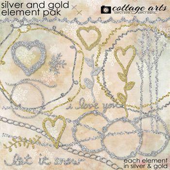 Silver & Gold Element Pak Digital Art - Digital Scrapbooking Kits