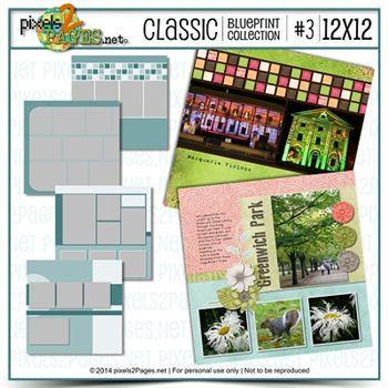 12x12 Classic Blueprint Collection #3 Digital Art - Digital Scrapbooking Kits