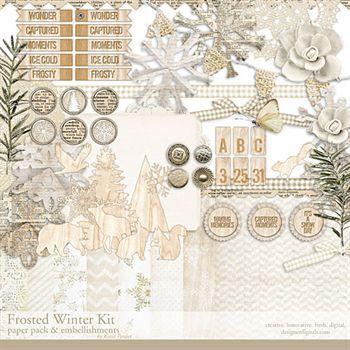 Frosted Winter Kit Digital Art - Digital Scrapbooking Kits