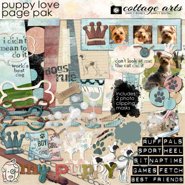 Puppy Love Page Pak Digital Art - Digital Scrapbooking Kits