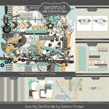 Love My Dad Bundle Digital Art - Digital Scrapbooking Kits