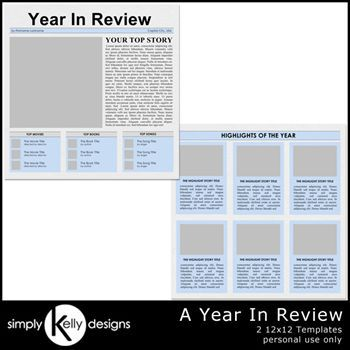 A Year In Review 12x12 Templates