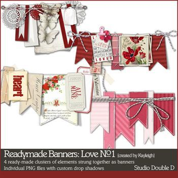 Readymade Banners Love No1 Digital Art - Digital Scrapbooking Kits