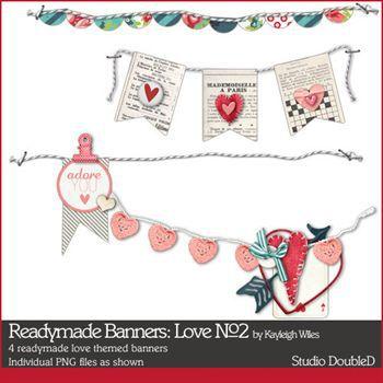 Readymade Banners Love No2 Digital Art - Digital Scrapbooking Kits