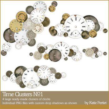 Time Clusters No1 Digital Art - Digital Scrapbooking Kits