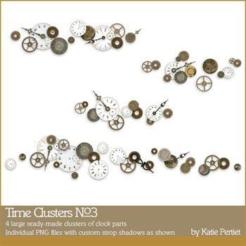 Time Clusters No3 Digital Art - Digital Scrapbooking Kits