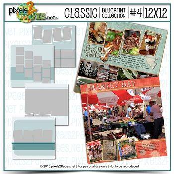 12x12 Classic Blueprint Collection #4 Digital Art - Digital Scrapbooking Kits