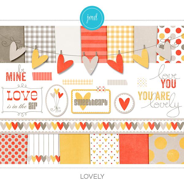 Lovely Kit Digital Art - Digital Scrapbooking Kits