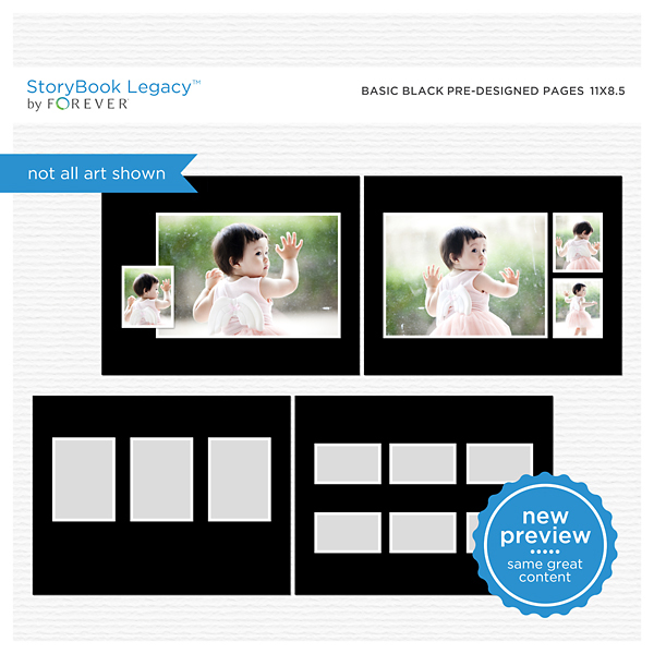 Basic Black Predesigned Pages 11x8.5 Digital Art - Digital Scrapbooking Kits